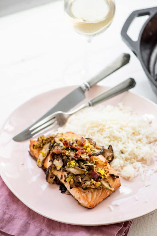 Orange Salmon with Leeks and Mushrooms / Katie Workman / themom100.com / Photo by Cheyenne Cohen