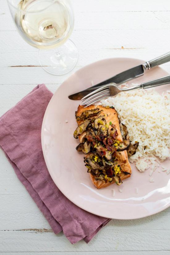 Braised Salmon with Leeks / Katie Workman / themom100.com / Photo by Cheyenne Cohen