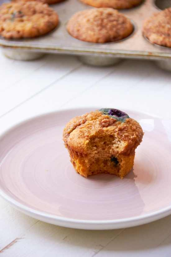 Blueberry Muffin Recipe / Katie Workman / themom100.com / Photo by Mia