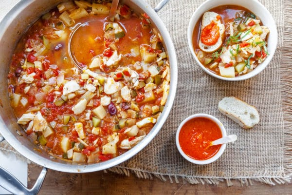 Provencal Fish Stew with Pimento Pepper Rouille / Katie Workman / themom100.com / Photo by Carrie Crow