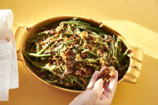 how to make crispy onion topping for green bean casserole