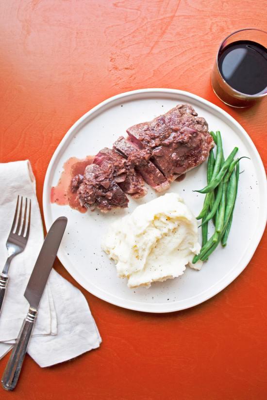 Strip Steak Diane / Katie Workman / themom100.com / Photo by Laura Agra