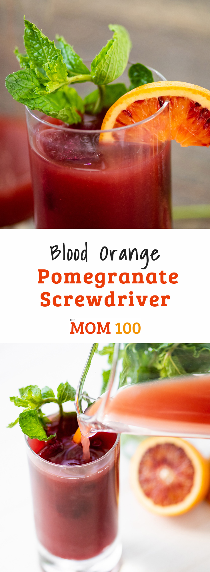 Blood Orange Pomegranate Screwdriver / The pomegranate juice is optional in this Blood Orange Pomegranate Screwdriver. It will deepen the color and add another layer of sweet and a bit tart flavor.