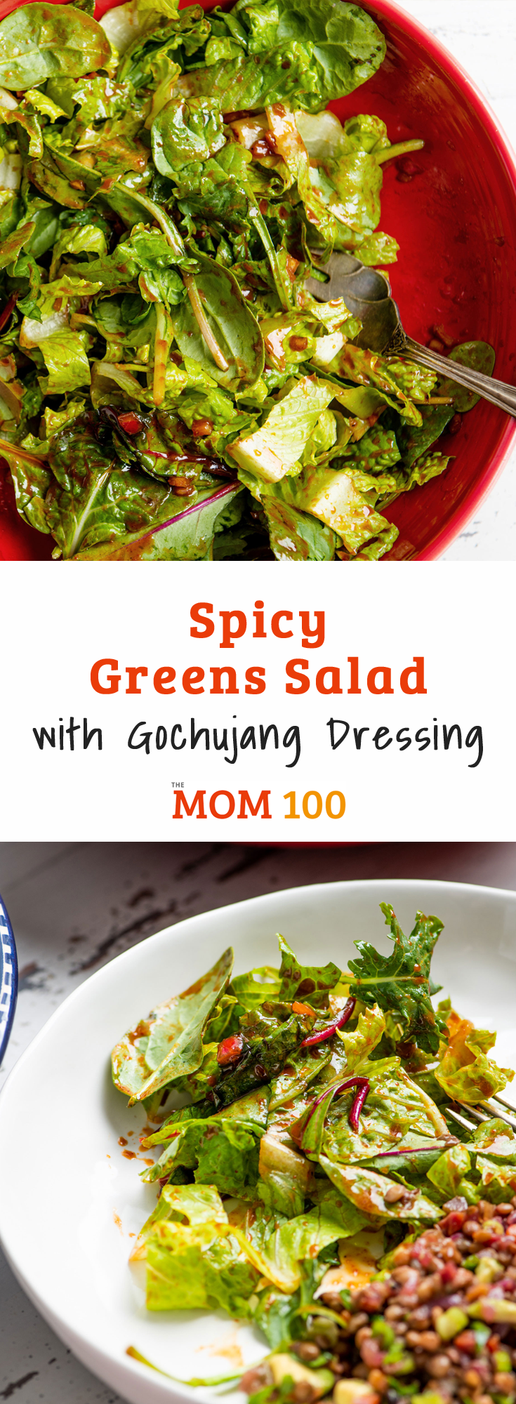 Spicy Greens Salad with Gochujang Dressing: A dressing with some punch, thanks to a hint of gochujang, a Korean chili paste you should get to know!