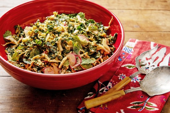 Kale, Cabbage and Mint Salad with Peanut Dressing