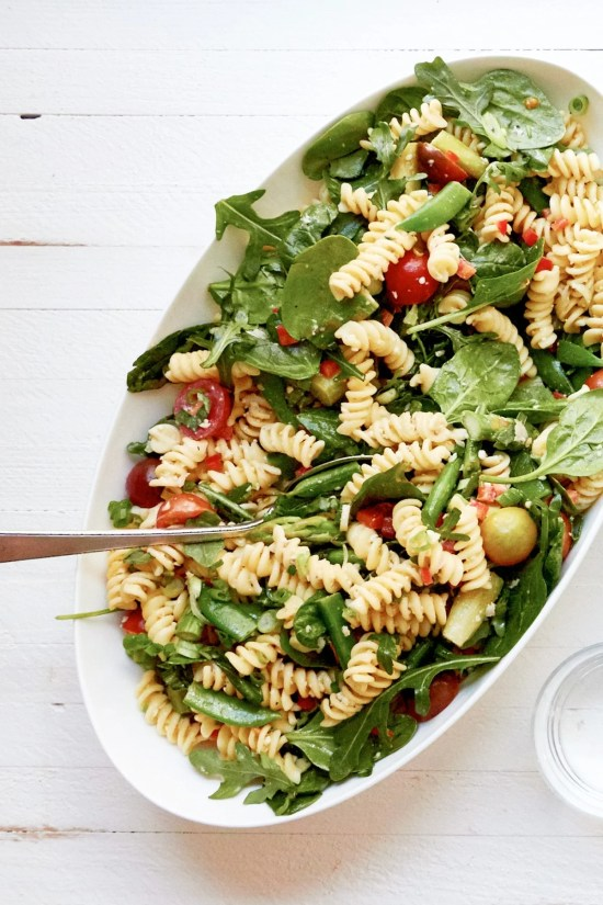 Simple Vegetarian Spring Pasta Salad