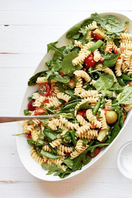 Simple Vegetarian Spring Pasta Salad