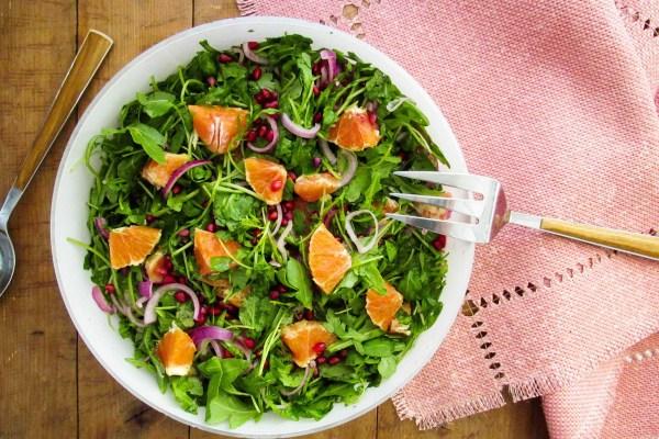 Arugula, Red Onion, Orange and Pomegranate Seed Salad with Lemon Vinaigrette