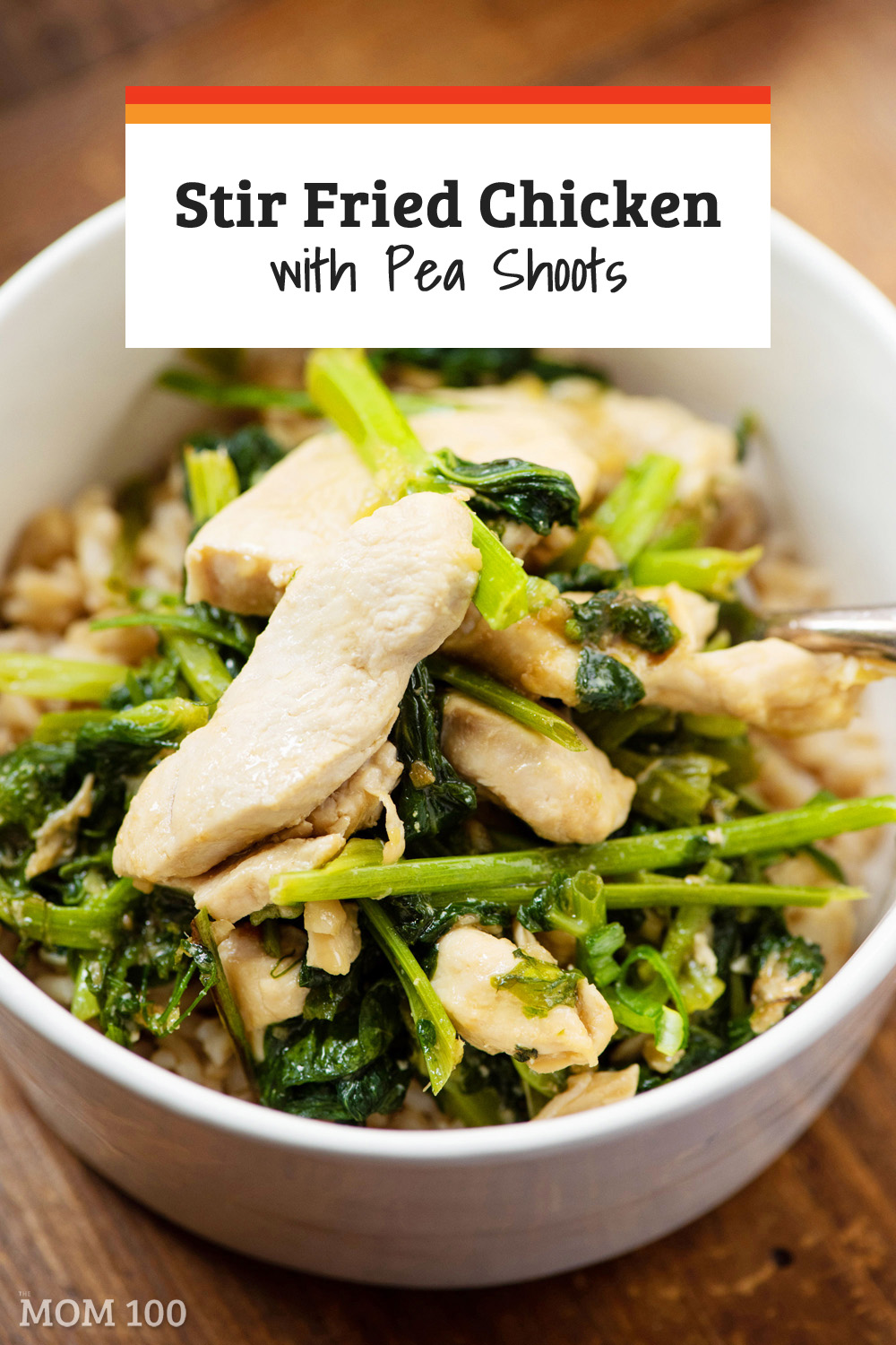 Stir Fried Chicken with Pea Shoots: A simple less-than-30-minute stir fry featuring one of the nicest vegetables of Spring.