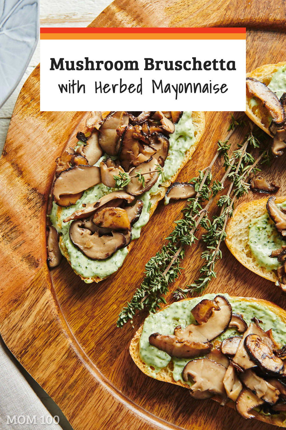 Mushroom Bruschetta with Herbed Mayonnaise: A pile of sautéed mushrooms atop some herby mayo on a tender-crunchy piece of olive oil slicked bread.  Super pretty and a bruschetta for company for sure!