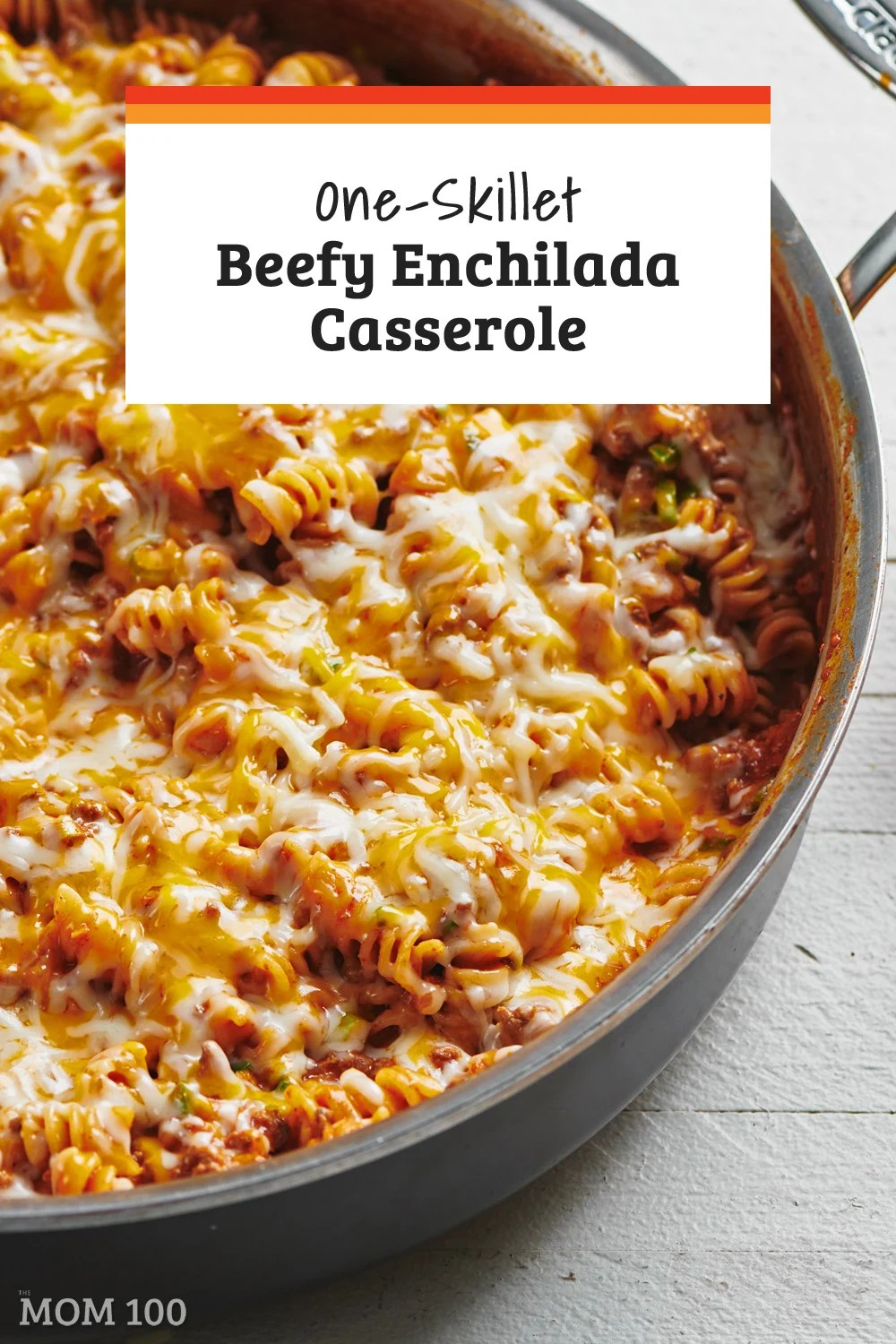 One-Skillet Beefy Enchilada Casserole: A satisfying one dish cheesy, beefy pasta recipe that hits all of those delicious flavor notes of enchiladas! #dinner #pasta #oneskillet #onepot