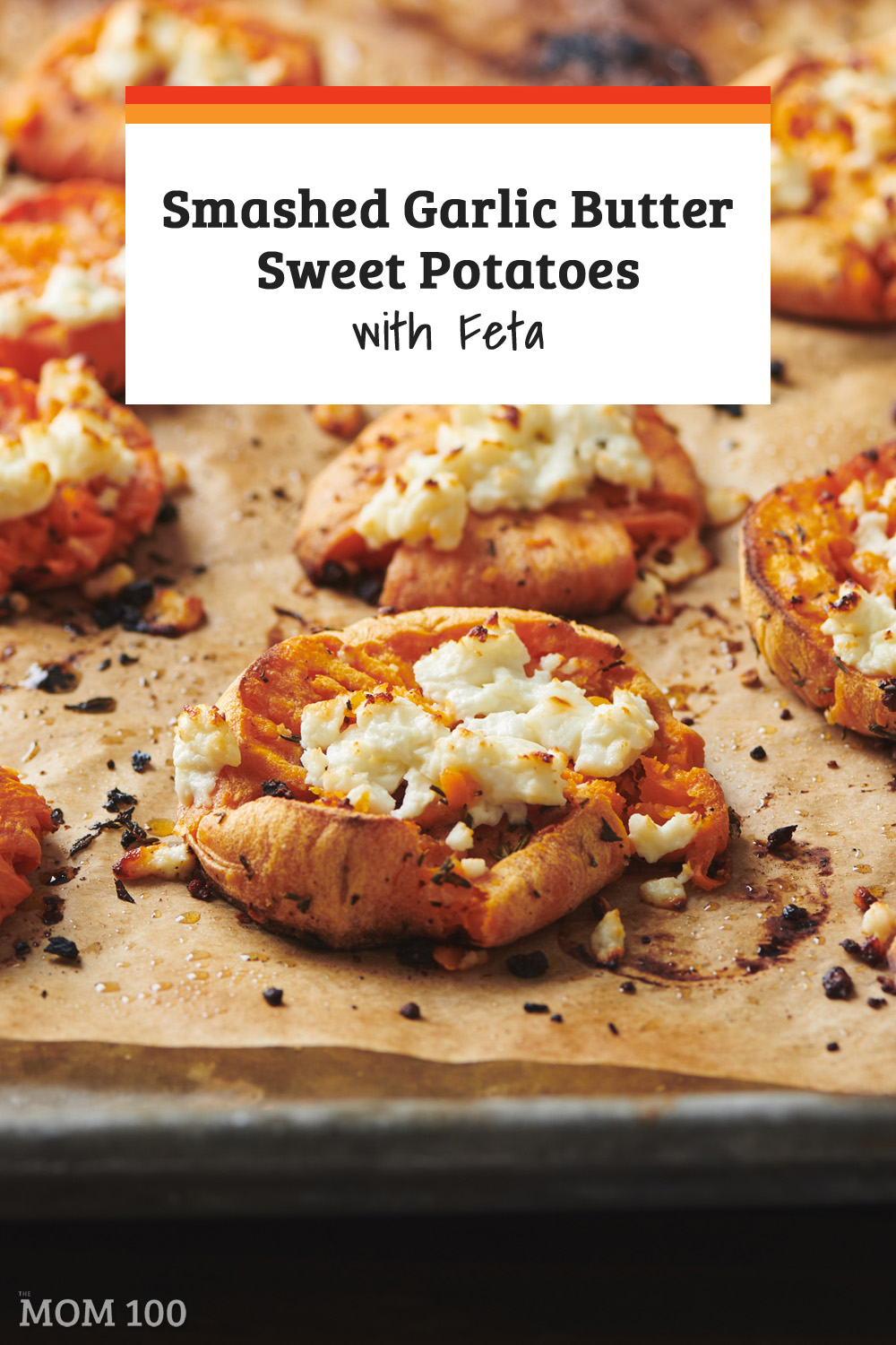 Smashed Garlic Butter Sweet Potatoes with Feta: Tender with crispy edges, and a pop of salty cheese and fresh parsley, these savory sweet potatoes are an easy but festive side dish. #sidedish #vegetarian #gf
