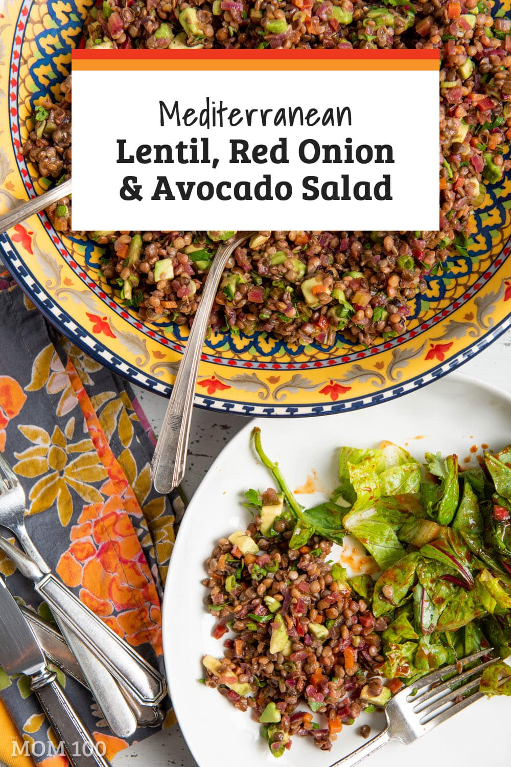 The Best Mediterranean Lentil, Red Onion and Avocado Salad:  If you ever thought lentil salads were boring, think again! Fresh, delicious, and so easy to make. #vegetarian #vegan #gf