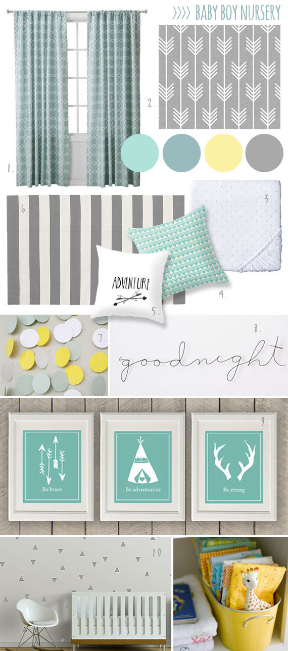 Nursery mood board GreyMintYellow boy room  The Mombot