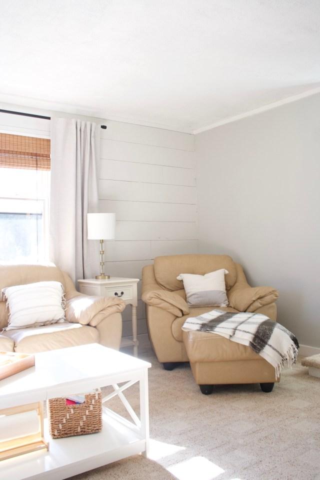 shiplap wall, family room