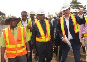 L-R:  Federal Controller, Works Lagos, Godwin Eke; Group Managing Director, Flour Mills of Nigeria Plc, Paul Gbededo; President/CE, Dangote Industries Limited, Aliko Dangote; and Managing Director, AG-Dangote Construction Company Limited, on the road inspection of Apapa-Wharf Road under construction by AG-Dangote Construction Company on Wednesday
