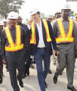L-R:  President/CE, Dangote Industries Limited, Aliko Dangote;  Managing Director, AG-Dangote Construction Company Limited; and Acting Group Managing Director, Dangote Sugar Refinery Plc, Engr, Abdullahi Sule, on the road inspection of Apapa-Wharf Road under construction by AG-Dangote Construction Company on Wednesday