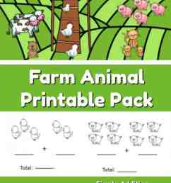 Farm Animal Addition and Subtraction Worksheets - The Moments at Home [ 1400 x 686 Pixel ]