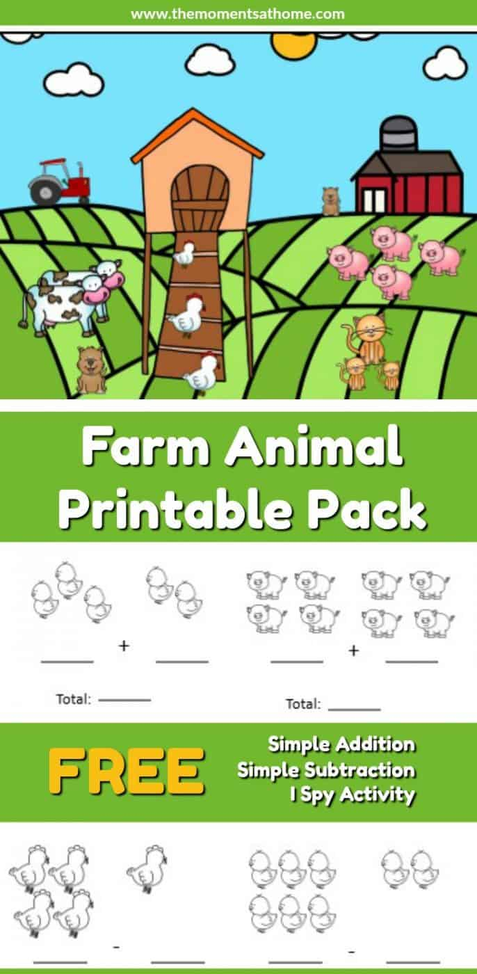 medium resolution of Farm Animal Addition and Subtraction Worksheets - The Moments at Home