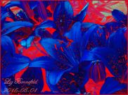 Tiger lilies, rendered in blue flowers with red accents, red greenery