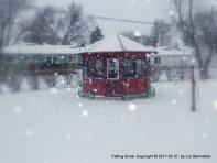 falling snow, gazebo