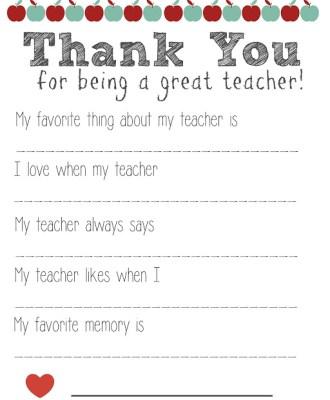 Thank You Teacher FREE Printable!