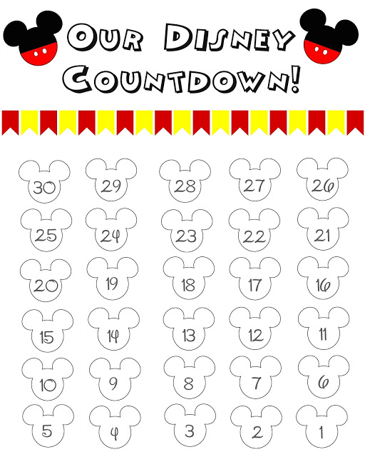image relating to Printable Countdown Chart named Disney Environment Countdown Calendar - Absolutely free Printable!! - The