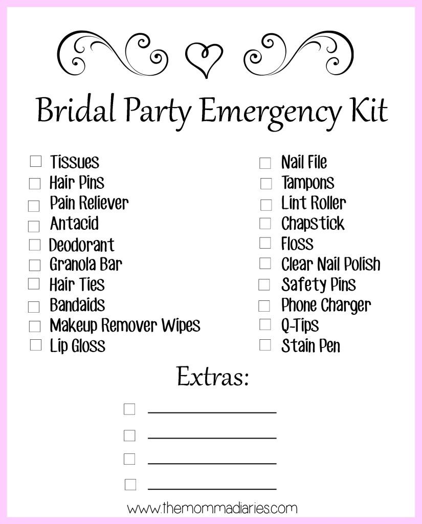 Bridal Party Emergency Kit, Bridal Party Printable Checklist, Wedding Day Emergency Kit