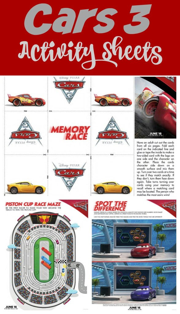 Cars 3 Activity Packet