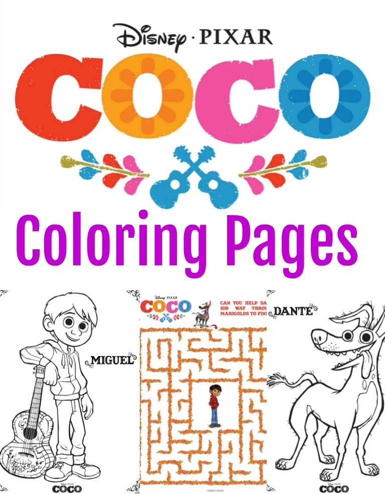 Disney Pixar Coco Coloring Pages + Activity Sheets