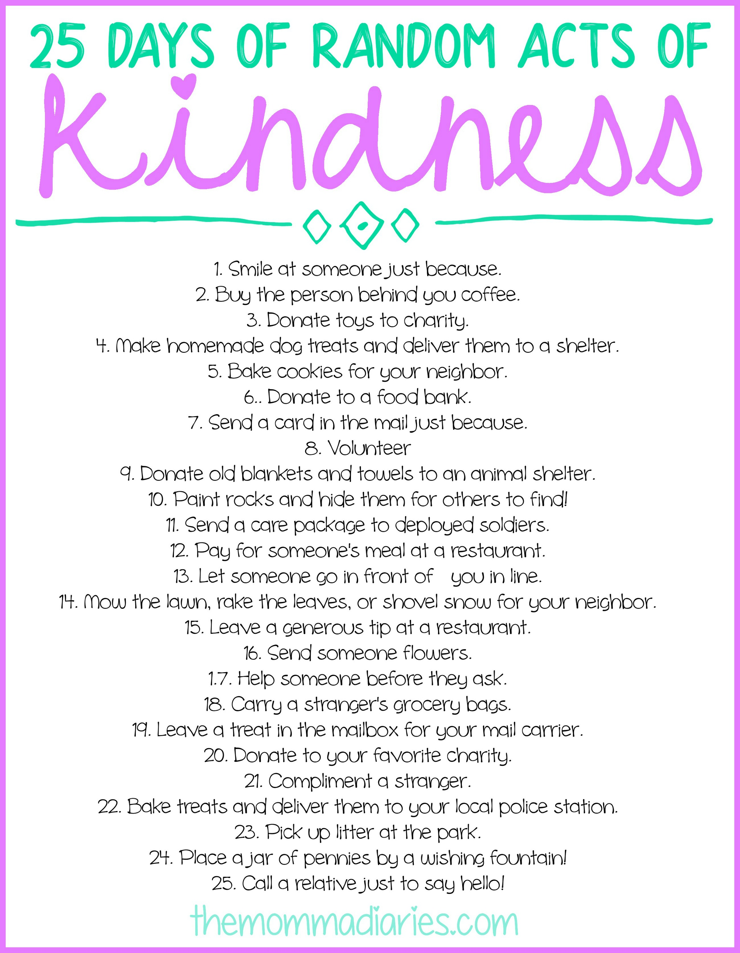 25 Days Of Random Acts Of Kindness Free Printables