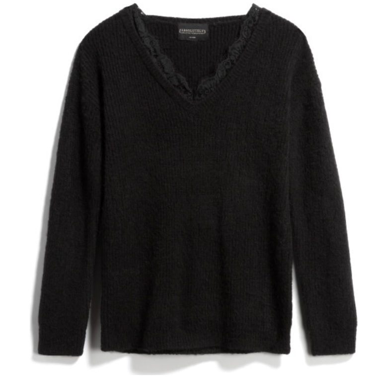 ABSOLUTELY Juniper Lace Trim Pullover