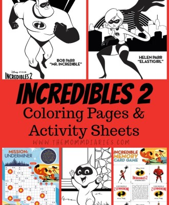 Incredibles 2 Coloring Pages and Activity Sheets