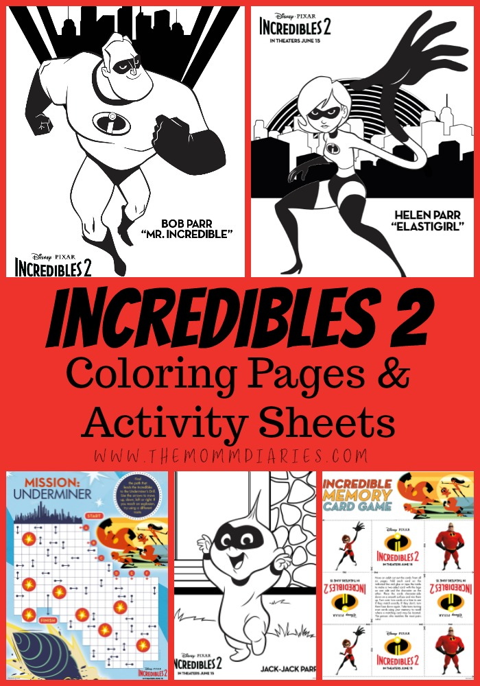 Incredibles 2 Coloring Pages, Incredibles 2 Activity Sheets, #Incredibles2