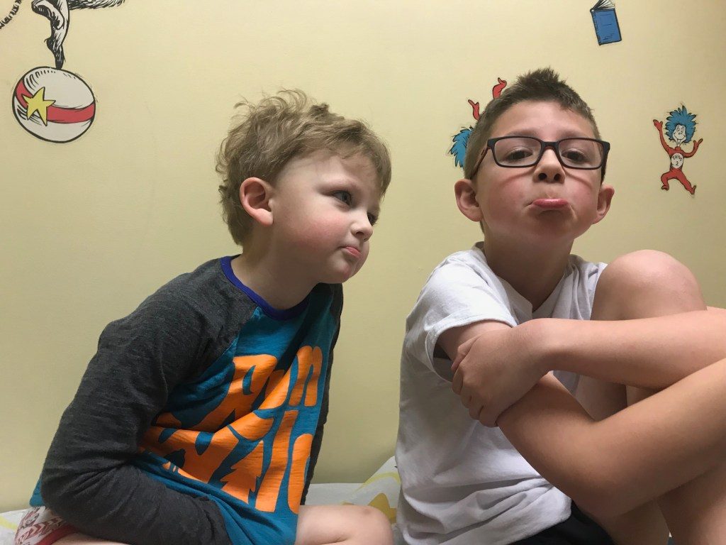 two boys at doctor's office