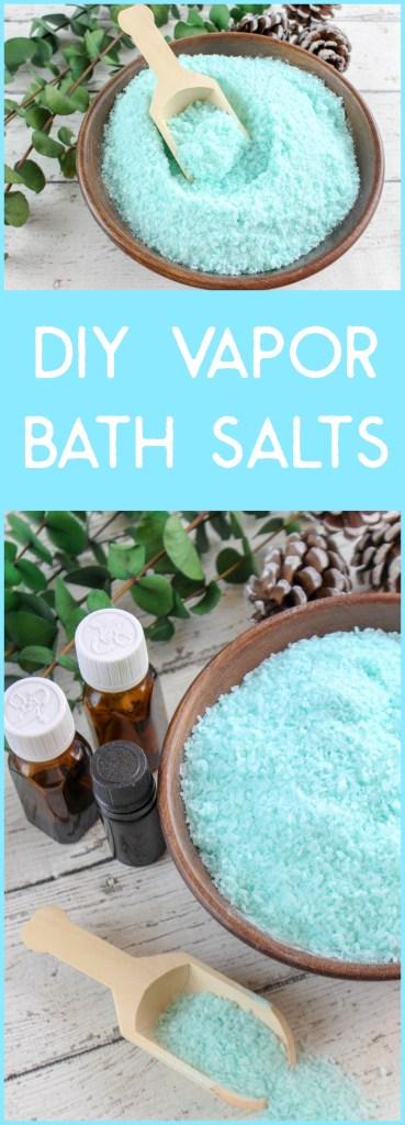 Vaporizing Bath Salts, DIY Vaporizing Bath Salts, DIY vapor rub, DIY vapor melts, Essential Oils vapor bath, DIY vapor bath, vaporizing bath soak, vapor bath salts, bath salts for cold and flu