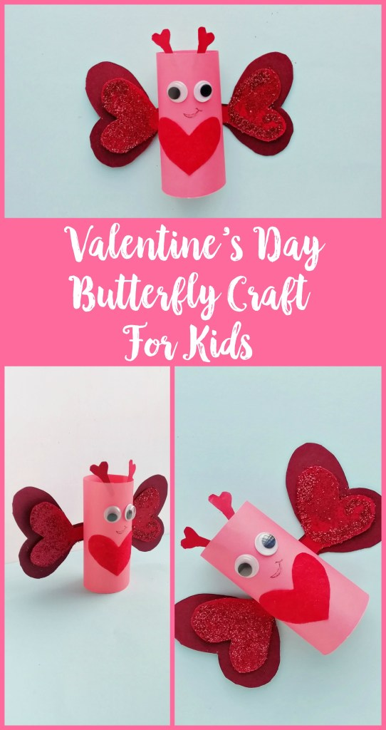 Valentine's Day Butterfly Craft For Kids, DIY Valentine's Day Butterfly Craft For Kids, kids valentine's day crafts, kids valentines craft, easy valentines for kids, easy kids valentine's day craft, butterfly craft, love bug valentines, kids butterfly craft, #ValentinesDay, #KidsCrafts