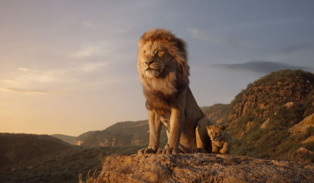 Disney's live-action the Lion King Mufasa and Simba on Pride Rock #TheLionKing