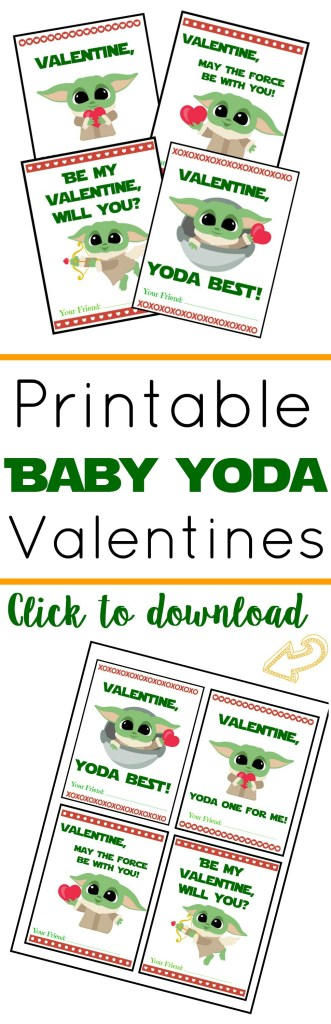 Printable Baby Yoda Valentines, Baby Yoda Valentine's Day Cards, #BabyYoda #TheMandalorian