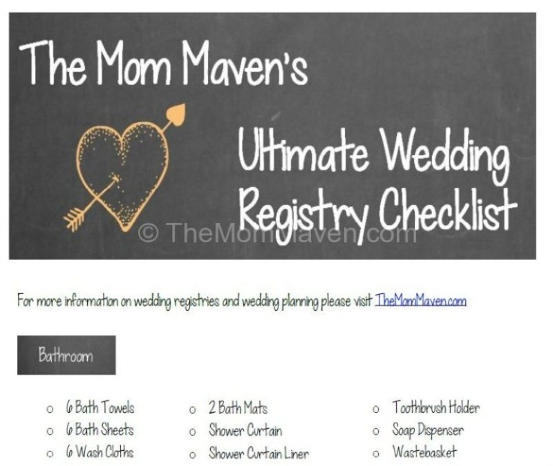 Ultimate Printable Wedding Gift Registry Checklist