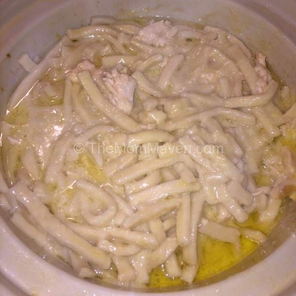In the crockpot-Crockpot Amish Chicken and Noodles