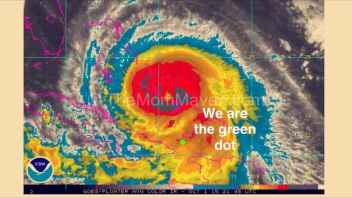 We are the green dot. Cruising in Hurricane Joaquin.