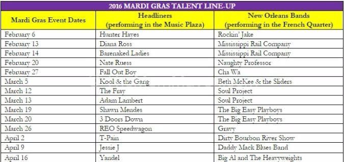 Universal Mardi Gras Line-up 2016