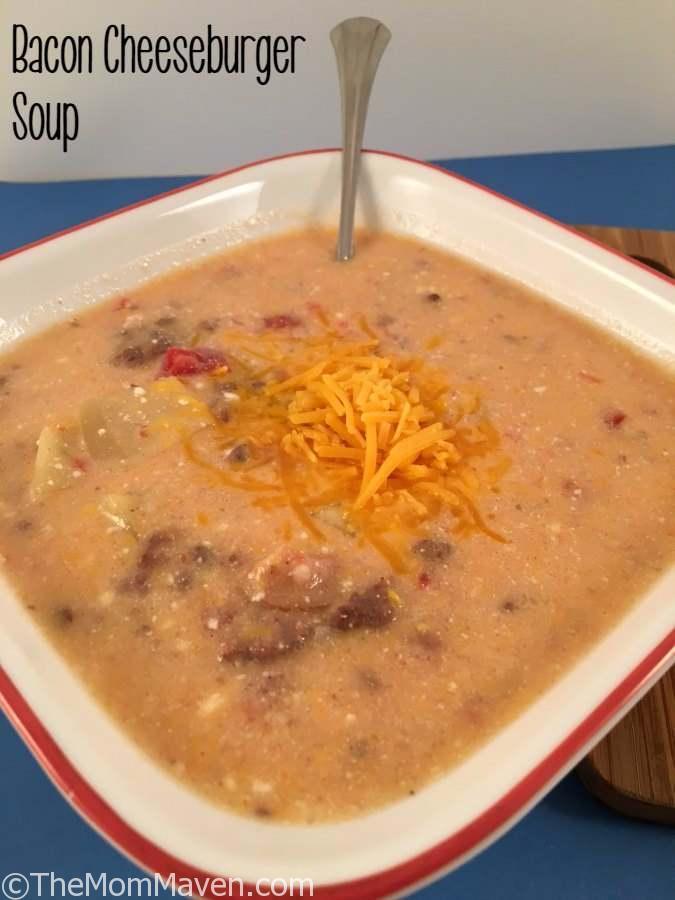 Homemade Bacon Cheeseburger soup crockpot recipe.