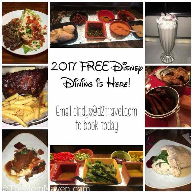 The 2017 Disney FREE Dining promotion is available to book April 24-July 7 and is available for select dates of travel August 21-December 23, 2017.