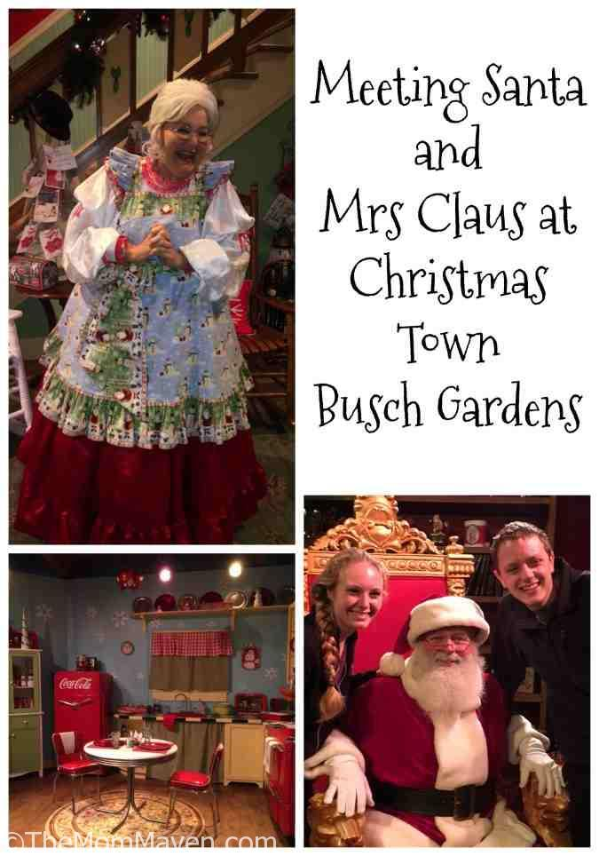 Visiting Santa at Christmas Town. Christmas Town is taking place at Busch Gardens Tampa Bay on select nights through December 31st and is included in the price of admission