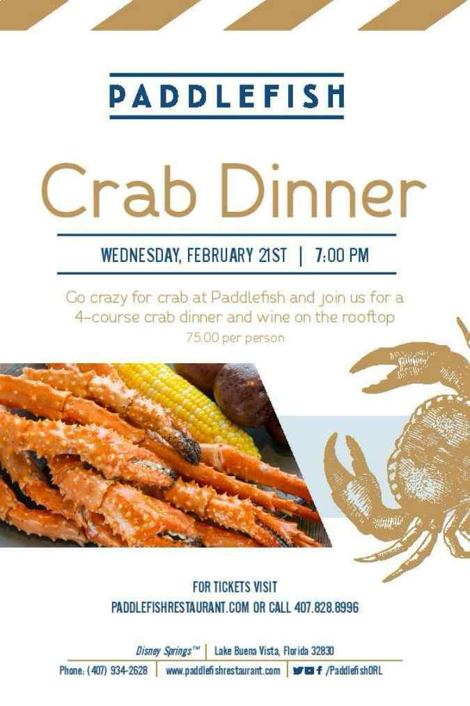 The special rooftop crab dinner at Paddlefish event will be held on Wednesday, February 21 at 7 p.m. and will allow guests to soak in panoramic views of Lake Buena Vista and Disney Springs all while enjoying a decadent meal.