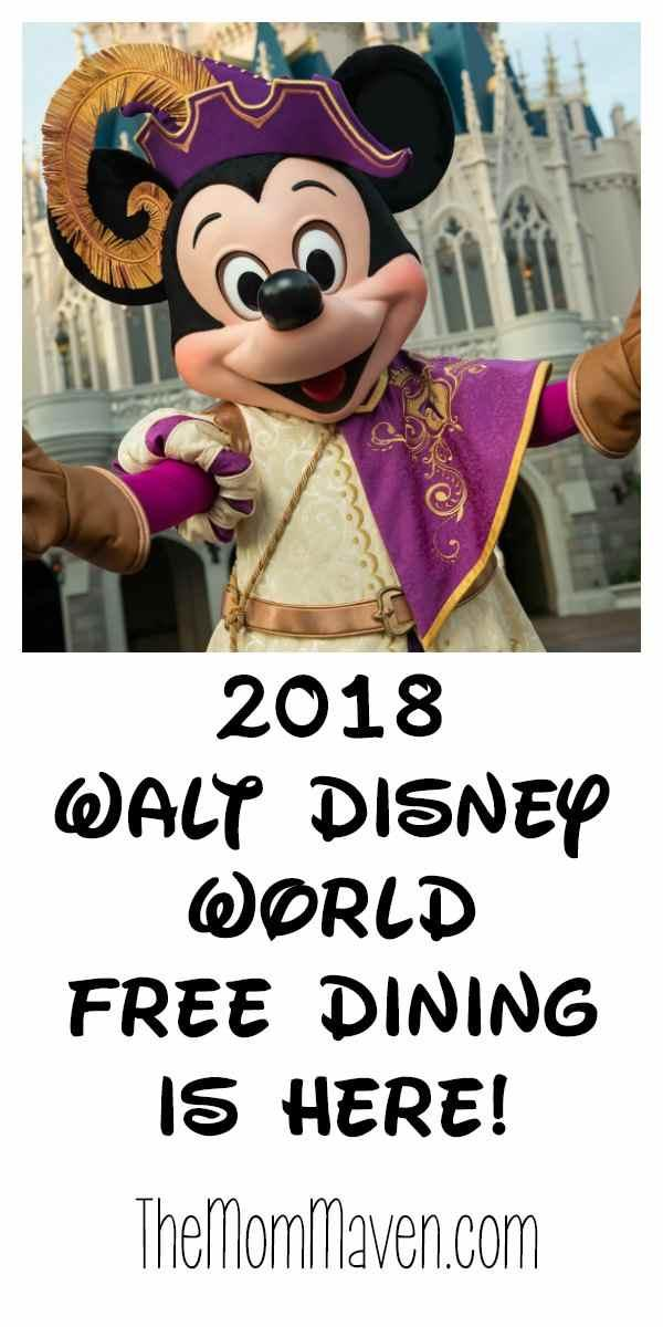 the 2018 Walt Disney World Free Dining Offer is here! I want to warn you that availability is limited and the offer is for select dates, at select resorts, with select ticket types and length of stay required. The resort category you choose also determines which Disney Dining Plan you receive for free, you can pay the difference and upgrade if you would like.