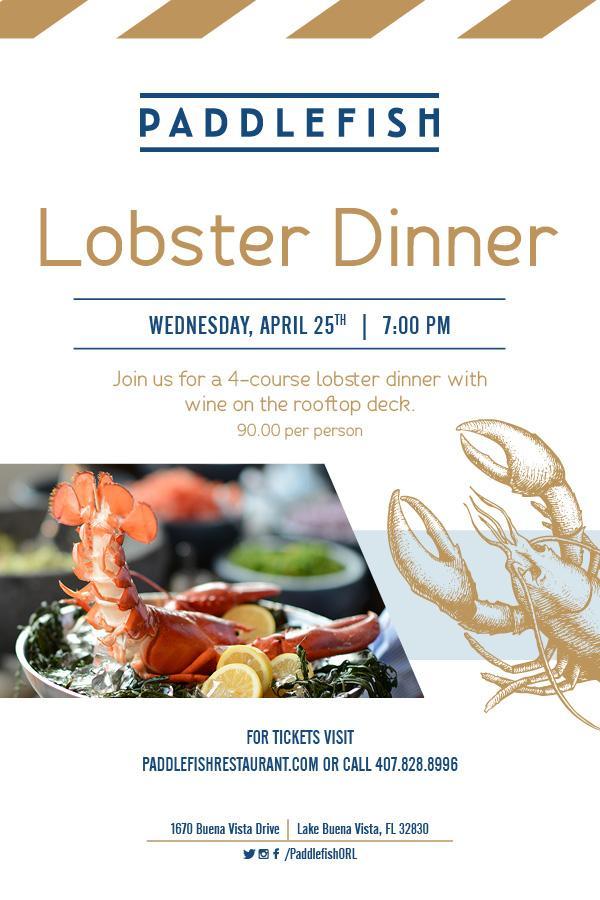 Rooftop lobster dinner at Paddlefish Disney Springs.