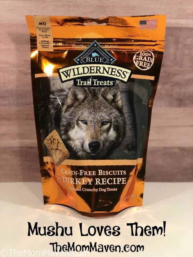 Mushu loves her Blue Buffalo Wilderness Trail Treats grain free dog biscuits from Chewy.com.